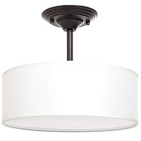 Fabric flush mount drum light